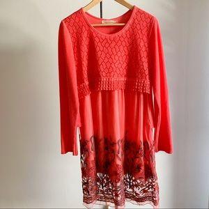 Layered Boho Sweater Boho Dress with Embroidery S